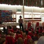Angela James addressing pupils before the library opening 4/3/13