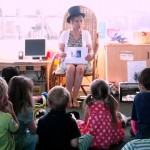 Angela James author - reading at Broad Town pre-school