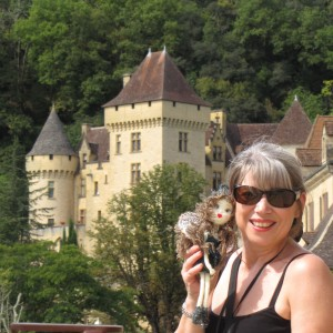 Angela James author with Moonshadow at La Roque-Gageac